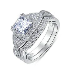 Sterling Silver 2 Pieces Princess Cut Cubic Zirconia Wedding Ring Set Size 4.5
