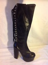Magic Londres Zapatos Negro Knee High Cuero Botas Talla 5