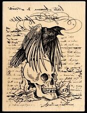 STAMPENDOUS rubber stamp RAVEN SKULL wood mounted, Halloween X-L