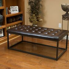 Sleek Modern Design Metal Coffee Table w/ Button Tufted Brown Leather Top