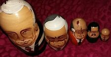 Set of 5 Vintage USSR Leader President Russian Dolls