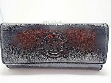 Michael Kors Fulton Flap Continental Wallet Clutch Black Grainy Patent/Gunmetal