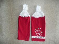 """Crocheted top kitchen towels- """"Grandma's Make The Season Sweet"""" Towels"""