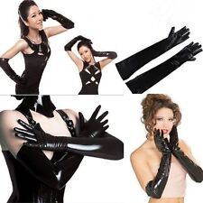 Sexy Women Lady Gauntlet Long Glove Black Patent Leather Elastic Material