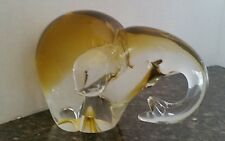 Murano Clear and Topaz Elephant made for Camer Glass 1960s Heavy No Defects