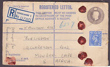 "1953  GV1  Morecambe Registered Letter ""stamps for personal collection"" to SA"
