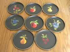 "8 Nashco Metal Plates,Hand Painted Fruit Trays,8""Toleware Mid-Century Modern+Box"