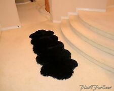 Black Faux Fur Double Sheepskin 2x5 hallway indoor flokati rugs throw area rugs