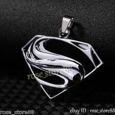 Gift Unisex's Men Silver Stainless Steel Superman Pendant Necklace Beads Chain