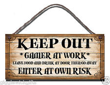 FUNNY WOODEN SIGN GAMING GAMER AT WORK KEEP OUT ENTER AT OWN RISK GIFT PRESENT