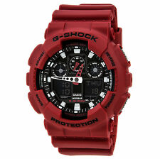 Casio GA100B-4A Mens G-Shock Ana-Digi Red Resin Anti-Magnetic World Timer Watch