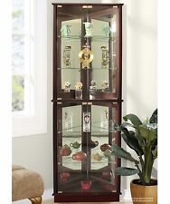 Lighted Curio Cabinet 5 Shelves Tall Storage Tower Display Corner Furniture New