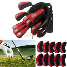 10pcs Red Neoprene Golf Club Protective Iron Head Cover Wedge Sock Headcover