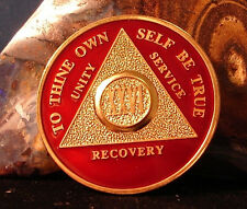 Premium Burgundy Gold Plate Alcoholics Anonymous 24 Year Medallion Coin Token