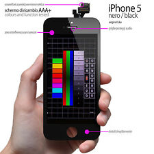 RICAMBIO DISPLAY TOUCH SCREEN IPHONE 5 SCHERMO NERO (QUALITA' PROFESSIONALE)