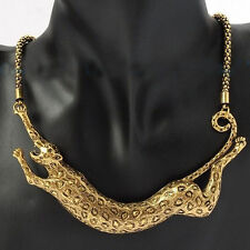 Women Gold Plated Jewelry Bib Leopard Animal Pendant Collar Statement Necklace