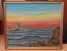 Vecchio quadro dipinto a olio o tempera su tela COSTIERA AMALFITANA MARE Salerno
