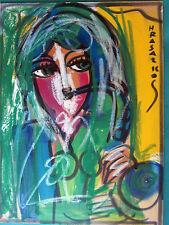 HRASARKOS  Tableau Peinture Mixte sur panneau 41 cm x 30,5 cm personnage