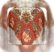 Shawl Authentic Woolen 100% Natural Silky Fringes Russian Paisley Floral Ethnic