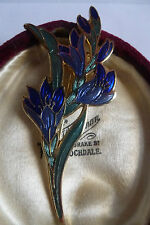 VINTAGE COSTUME JEWELLERY CLOISONNE ENAMEL BLUE ORCHID BROOCH MARKED CROWN/FISH