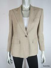 RALPH LAUREN 6 P Silk Beige Plaid Single Button Suit Jacket Blazer Career EUC