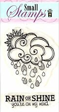 Cloud & Raindrops 2 Small Stamps Clear Unmounted Rubber Stamp Set HOTP 1206 New
