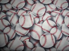 Baseball sports hard ball little league cotton fabric quilting and sewing 1 yard