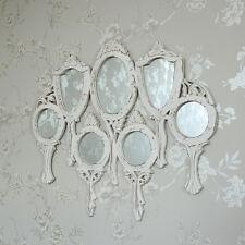 In legno bianco vanità multi specchio shabby chic vintage carina ornato