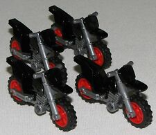 Lego New Lot of 4 Minifigure Motorcycles Bikes Black with Red Wheels Parts
