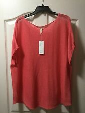 NEW Eileen Fisher Plus Size 2X Organic Linen Bateau Neck Box Top, Retail $158