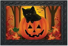 """Halloween Kitten Doormat Jack O'lantern Black Cat 18"""" x 30"""" Briarwood Lane"""