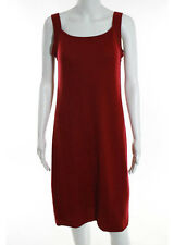 DKNY Bright Red Wool Square Neck Sleeveless Knee Length Sweater Dress Sz M RB756