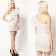 MANGO CREAM ONE SHOULDER PARTY DRESS WITH A FRILL TRIM  SIZE M(UK10-12)