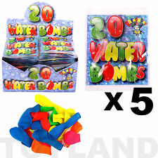 WATER BOMBS x 100 BALLOONS (5 Pack) TOY GAME PARTY BAG CHRISTMAS STOCKING FILLER