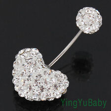 New Belly ring Heart Clear Rhinestones 20G Body piercing jewelry good quality