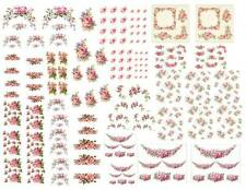 Dollhouse Miniature Shabby Chic Decals 1:12 Scale Floral Flowers Roses