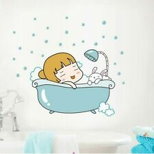 Cute Shower Room Happy Baby Girl & Bunny Bath Wall Sticker Bathroom Decor Decal