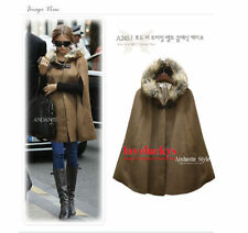 WFN Warm UK Lady Gril Loose cape wool+real fur coat shawl Cloak jacket trench