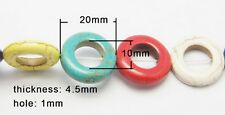 10 Multi-Coloured Synthetic Turquoise 20mm Donut Round Shaped Beads (BOX42)