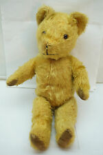 ANTIQUE TEDDY BEAR GOLD MOHAIR HUMPBACK JOINTED 20thC 16in LONG MERRYTHOUGHT