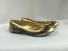 Coach Womens size 8 B Brown Signature Logo Canvas GOLD Ballet Flats Shoes