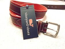vineyard vines Leather and Cotton Canvas Chevron Webbing  Belt NWT 38  $98.50