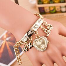 Women's Flower Heart Love Style Rhinestone Stainless Steel Chain Bracelet Watch
