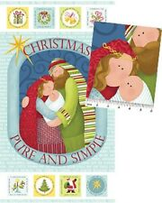 Christmas Pure and Simple Nativity Panel Cotton Quilting Fabric -Nancy Halvorsen