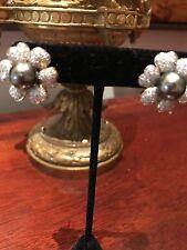 Earrings Black Pearl 1.99 Carats Diamonds Pierced