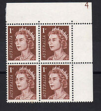AUSTRALIA 1966 1c DEEP RED-BROWN PLATE 4 SG 382 MNH.