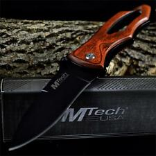 M-TECH WOOD HANDLE Pocket Folding GENTLEMANS KNIFE Tactical Hunting Military NEW