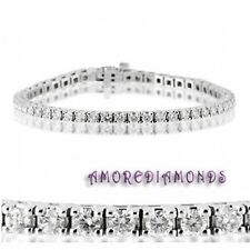 4.6 ct F VS2 natural round ideal diamond 4 prong tennis bracelet 18k white gold