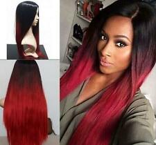 New Fashion Women Heat Resistant Long Straight Ombre Black/Red Wig Cosplay Wig