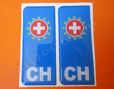 2x3D Sticker Resin Domed Euro SWITZERLAND Number Plate with Flag Car Badge